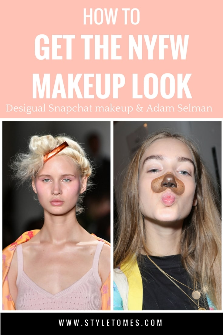 Get The Fashion Week Model Look: Snapchat filter makeup at Desigual and Adam Selman makeup and hair